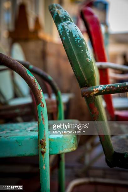close-up of empty chairs - marty hardin stock photos and pictures