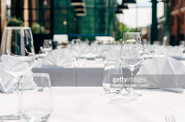 Close-Up Of Empty Dining Table In Restaurant