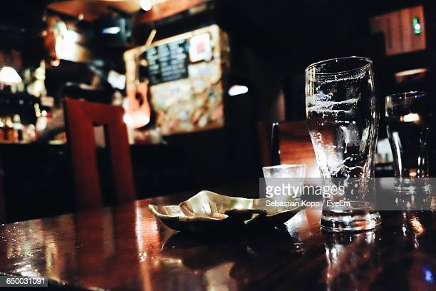 Close-Up Of Empty Glass In Bar