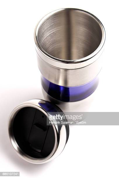 Close-Up Of Empty Metallic Coffee Container