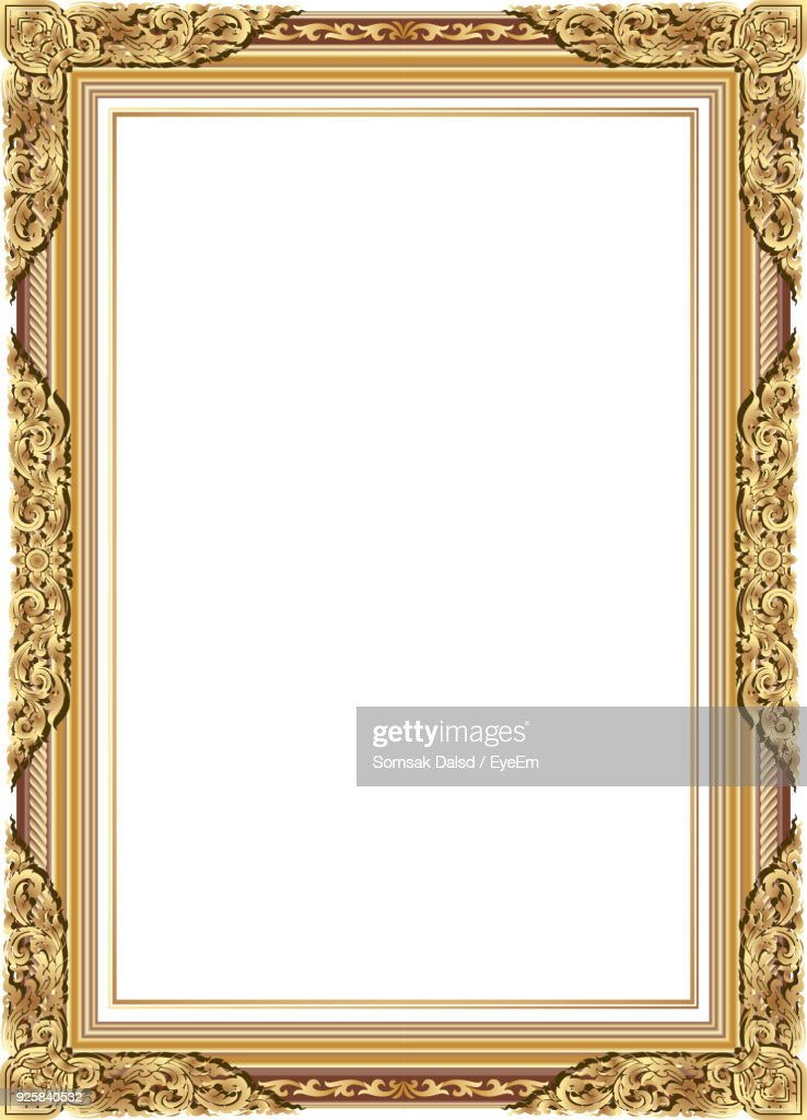 Close-Up Of Empty Picture Frame Over White Background : Stock Photo