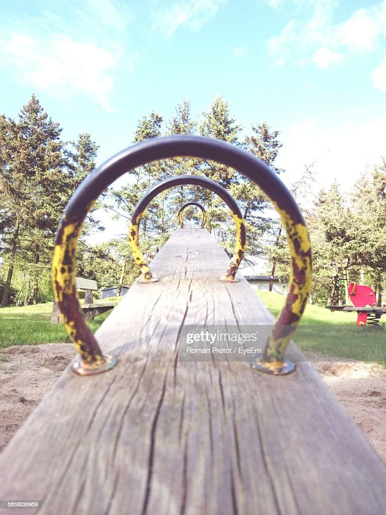 Close-Up Of Empty Seesaw Swing : Stock-Foto