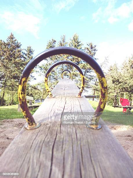 Close-Up Of Empty Seesaw Swing