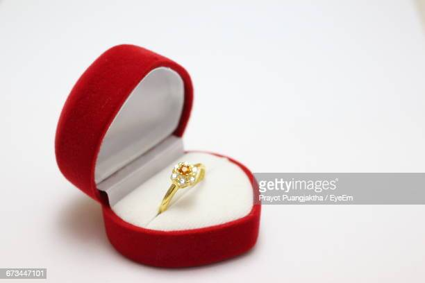 Close-Up Of Engagement Ring In Box