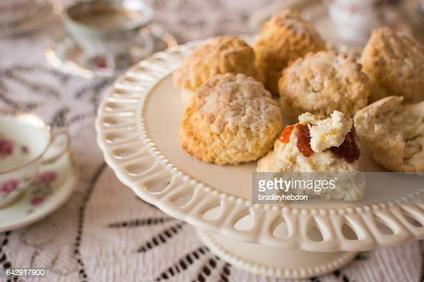 Close-up of English scones with clottted cream and jam