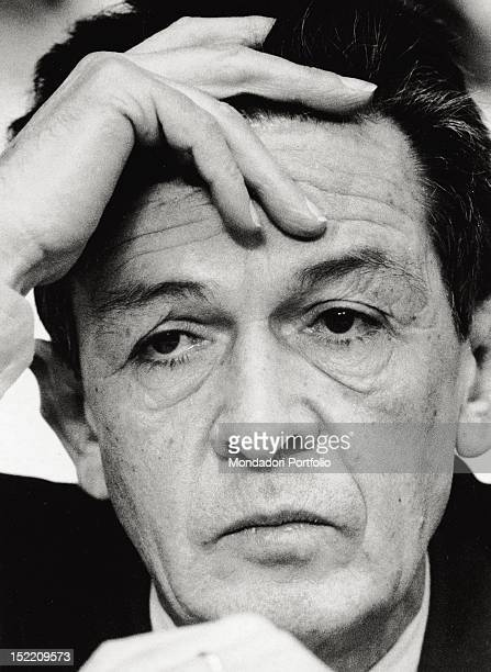 Closeup of Enrico Berlinguer general secretary of the Italian Communist Party from 1972 until 1984