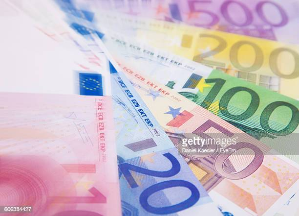 Close-Up Of Euro Banknotes