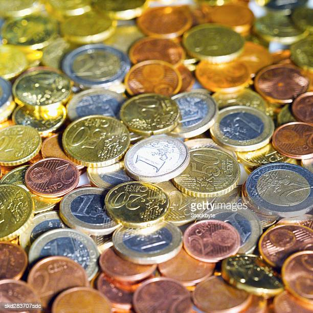 Close-up of euro coins of various denominations