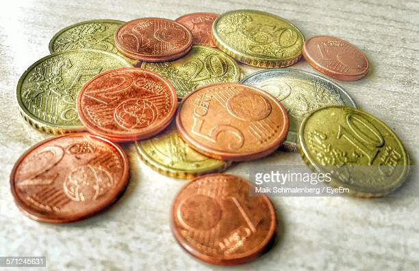 Close-Up Of Euro Coins On Table