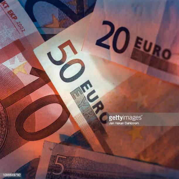 close-up of euro notes - banconote euro foto e immagini stock