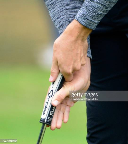 Closeup of European Champion Tommy Fleetwood of England's putting grip during the 1st round of The BMW PGA Golf Championships at Wentworth on May 24...