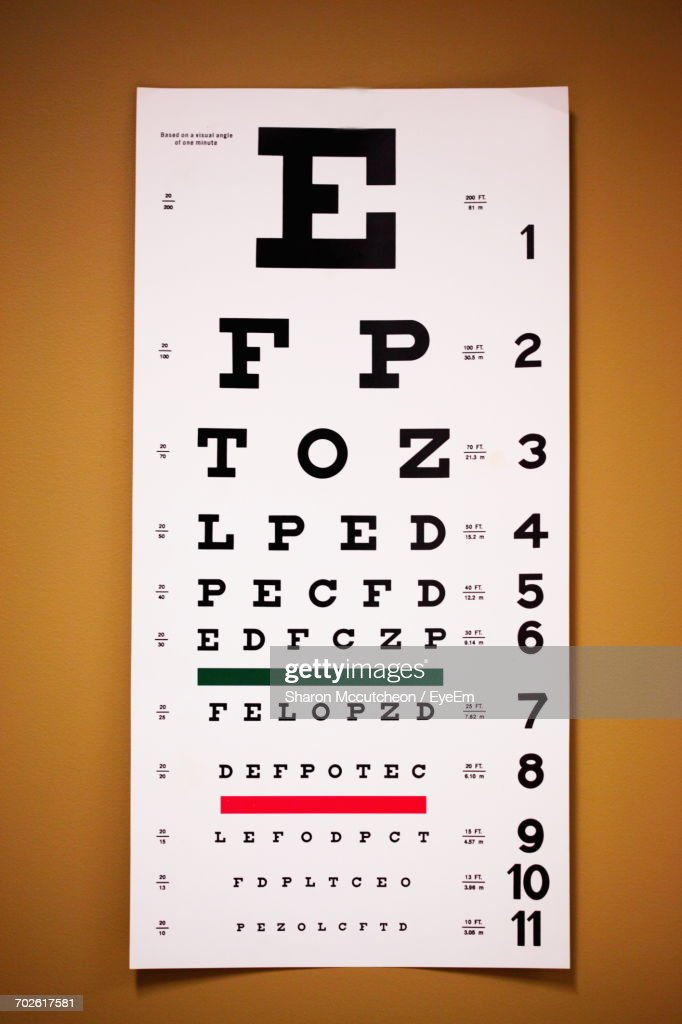 graphic about Snellen Chart Printable identified as Eye Chart Top quality Images, Shots, Photos - Getty Illustrations or photos