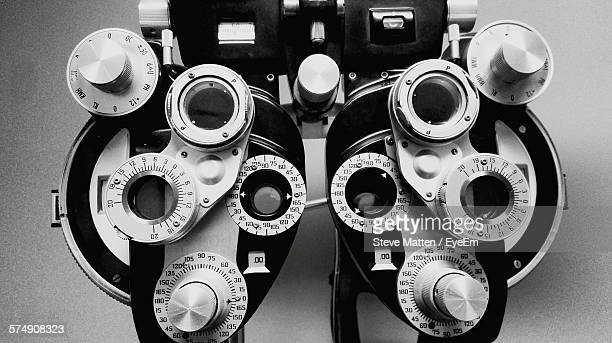 close-up of eye test equipment in medical clinic - steve matten stock pictures, royalty-free photos & images