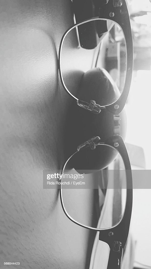 Close-Up Of Eyeglasses On Table Indoors : Stock Photo