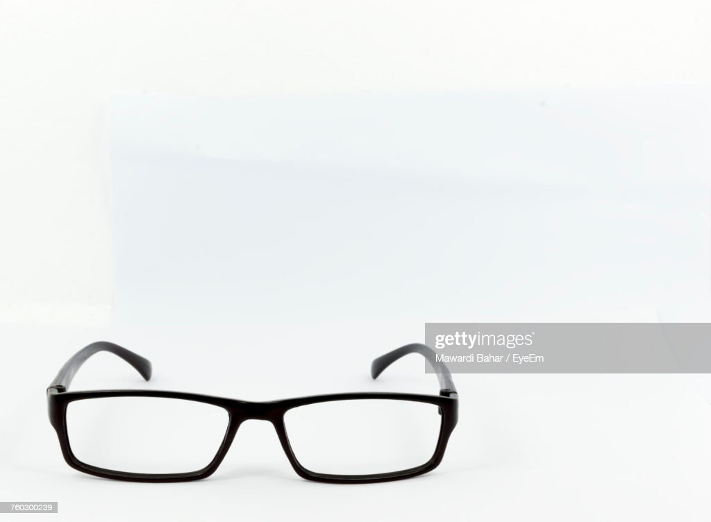 closeup of eyeglasses on white background ストックフォト getty images