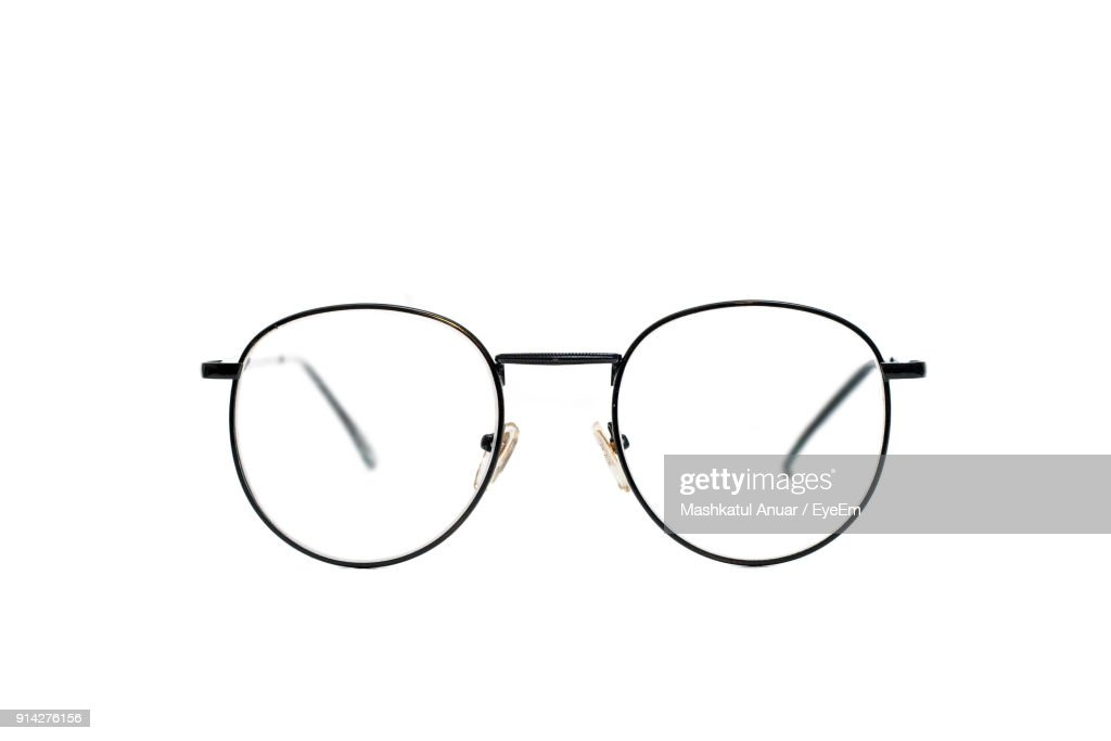 Close-Up Of Eyeglasses Over White Background : Stock-Foto