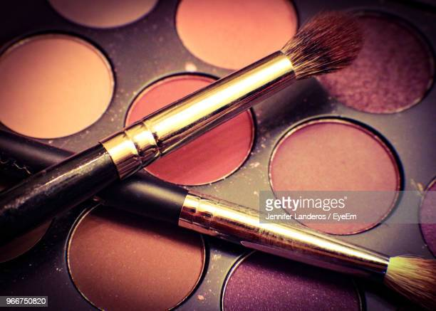 Close-Up Of Face Powder With Make-Up Brush