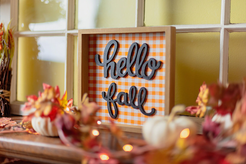 Closeup of fall decorations on mantel 1146783241