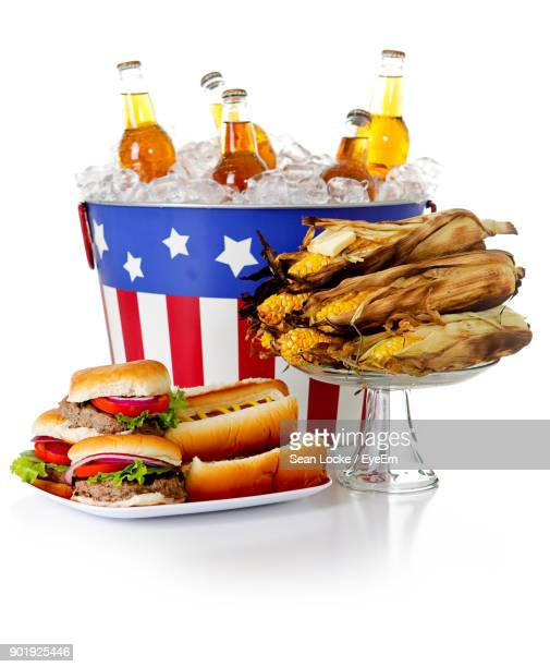 Close-Up Of Fast Food Over White Background