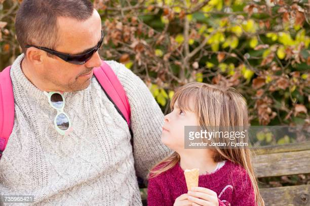 close-up of father with daughter - mevagissey stock photos and pictures