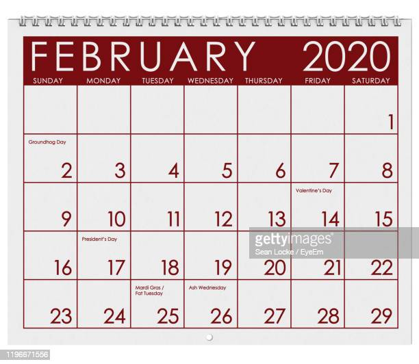 close-up of february 2020 calendar - februar stock-fotos und bilder