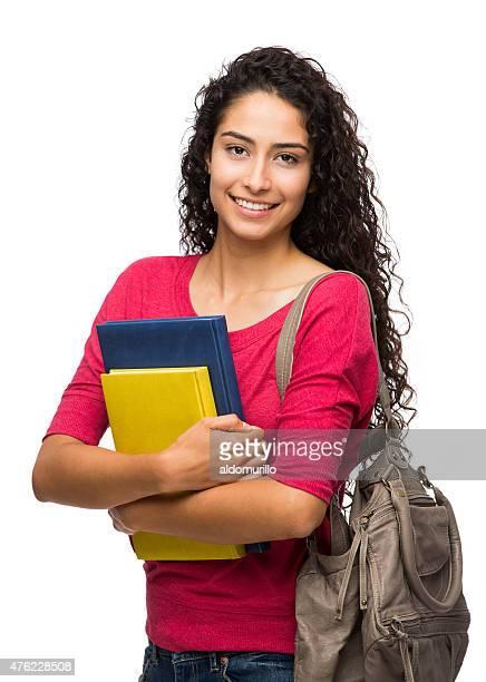 close-up de estudante universitário feminino - fundo branco - fotografias e filmes do acervo
