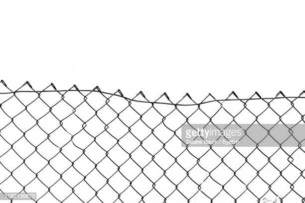 close-up of fence against clear sky - wire mesh fence stock pictures, royalty-free photos & images