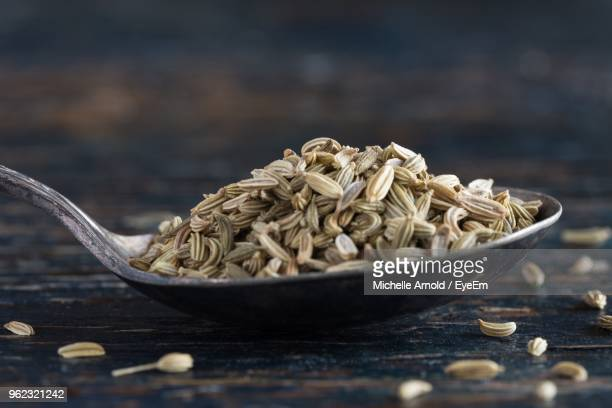 Close-Up Of Fennel Seed In Spoon On Wooden Table