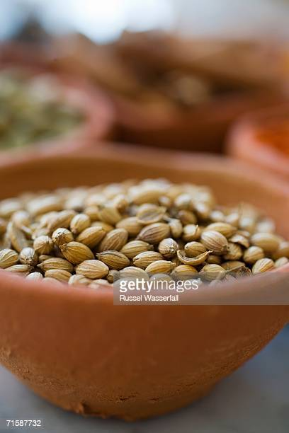 Close-up of Fennel Seeds in a Ceramic Bowl