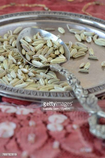 Close-Up Of Fennel Seeds In Plate On Table