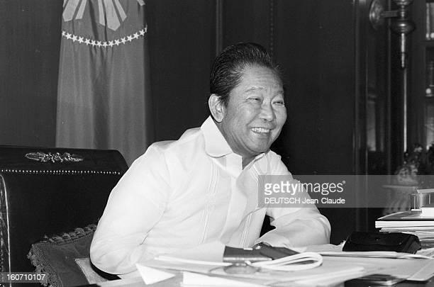 Closeup Of Ferdinand And Imelda Marcos Philippines 24 janvier 1982 le Président Ferdinand MARCOS dans son bureau du Palais présidentiel de Malacanang...