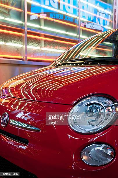 Close-up of Fiat SpA 500 in Times Square