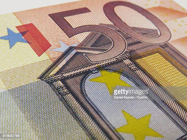Close-Up Of Fifty Euro Banknote