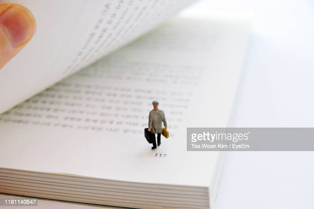 close-up of figurine on book - figurine stock pictures, royalty-free photos & images