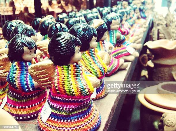 close-up of figurines on display at store - guatemala city stock pictures, royalty-free photos & images