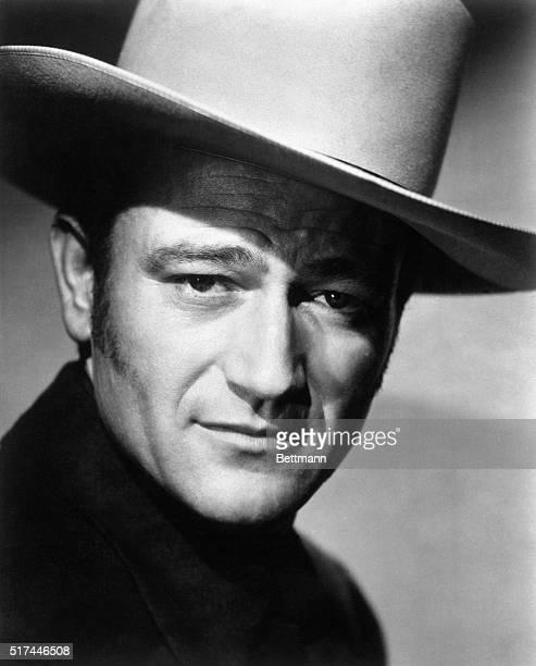 Closeup of film actor John Wayne in a cowboy hat Ca 1950s