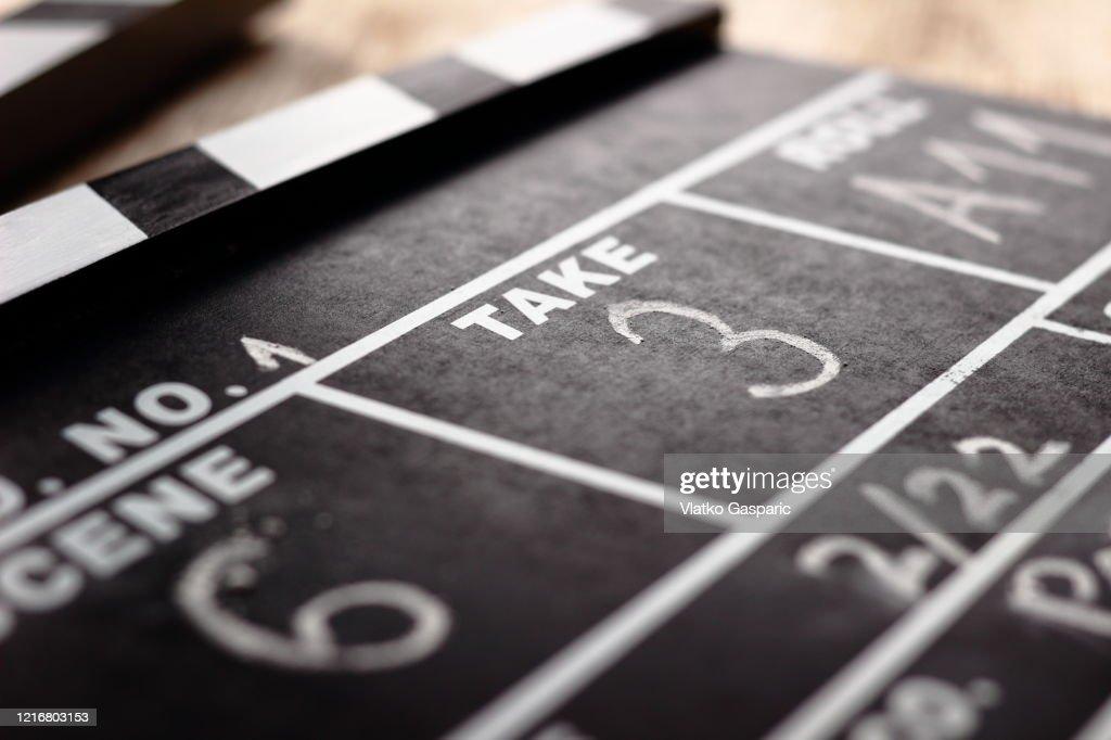 Close-up of Film Clap Board Film Slate : ストックフォト