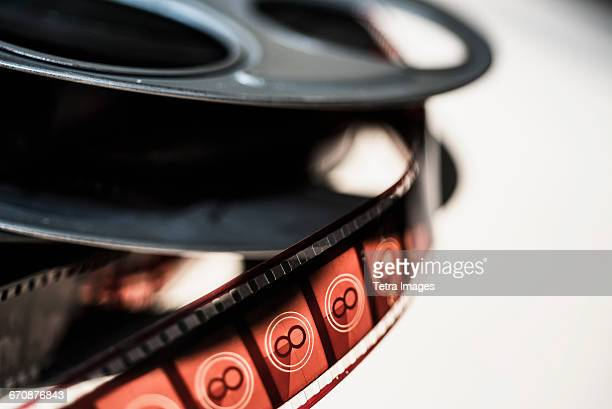 Close-up of film reel on white background