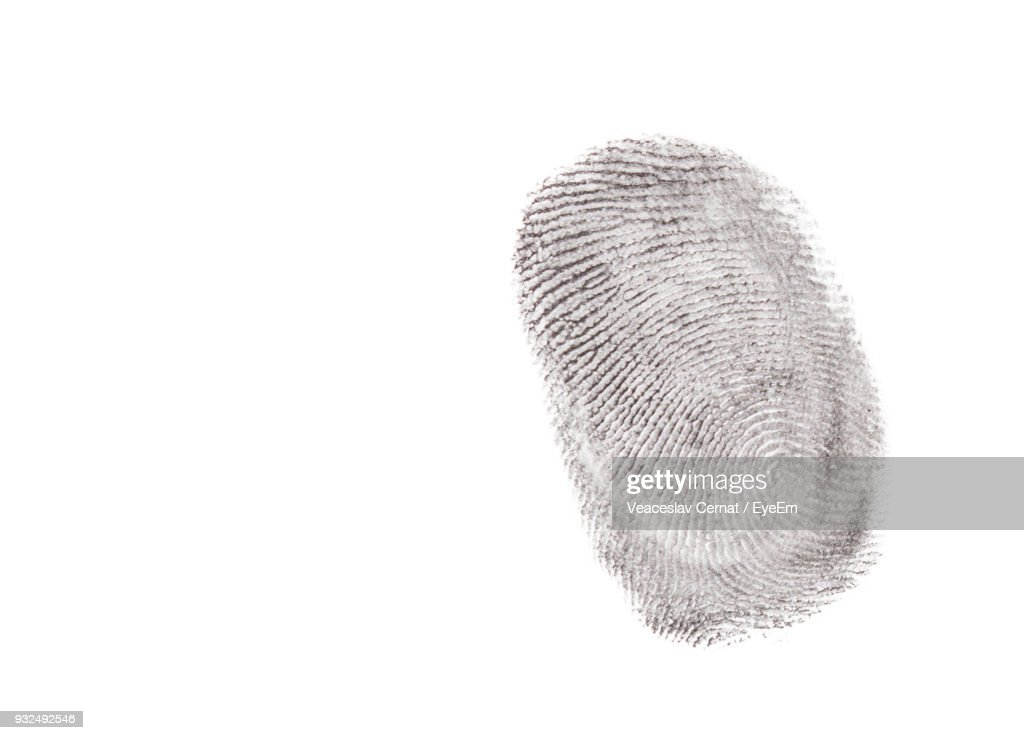 Close-Up Of Finger Print Against White Background : Stock Photo