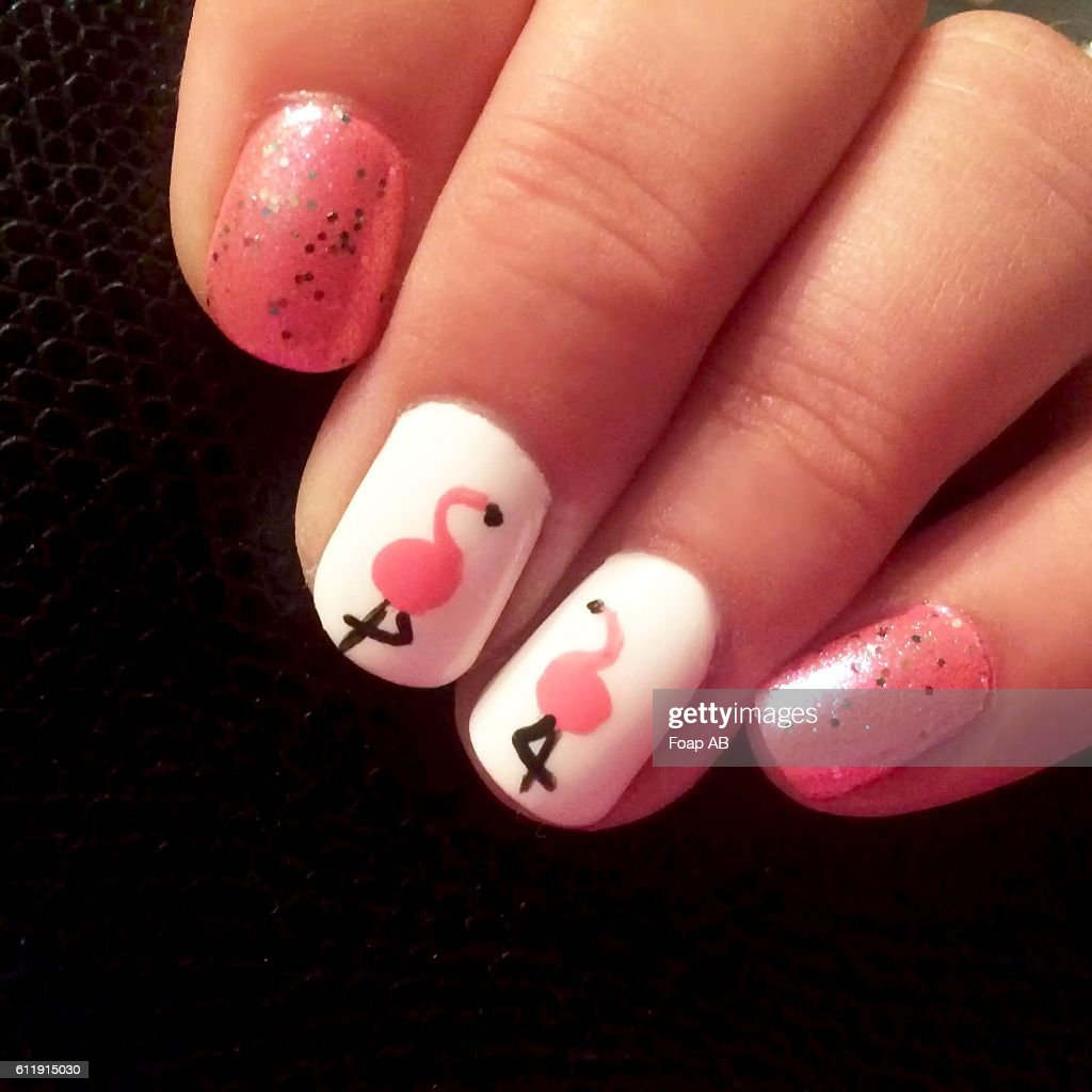 Close-up of fingernail showing Flamingo Nail Art : Stock Photo