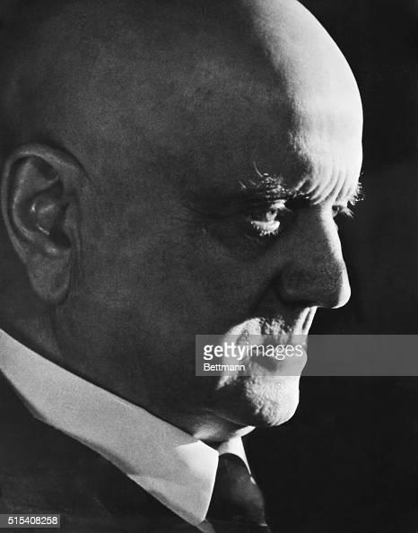 Closeup of Finnish composer Jean Sibelius in profile Undated photo