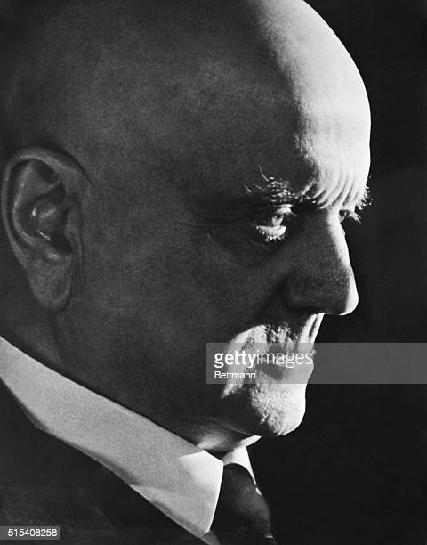 Closeup of Finnish composer Jean Sibelius in profile Undated photo