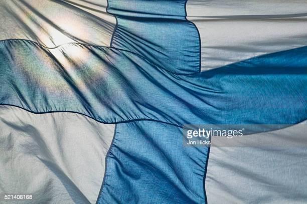 close-up of finnish flag - finsk flagga bildbanksfoton och bilder