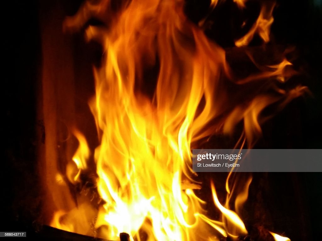 Close-Up Of Fire At Fireplace : Stock Photo