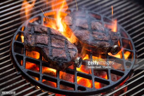 Close-Up Of Fire In Barbecue Grill
