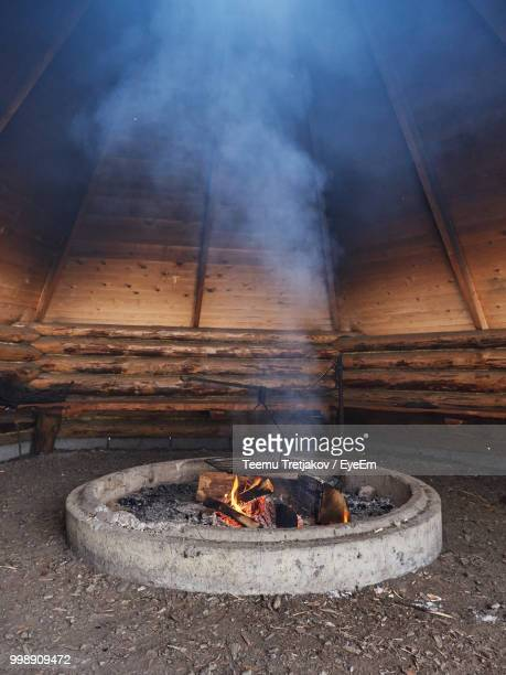 Close-Up Of Fire In Wooden Tent