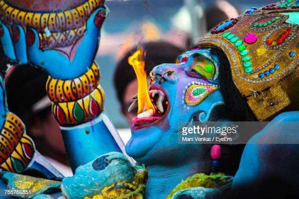 close-up of fire-eater - shiva stock photos and pictures