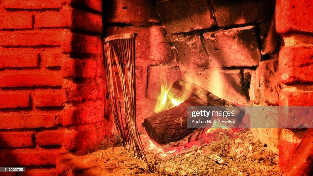 Close-Up Of Fireplace At Home : Stock Photo
