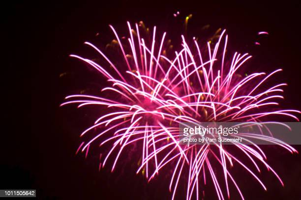 close-up of fireworks in black sky - fireworks stock pictures, royalty-free photos & images