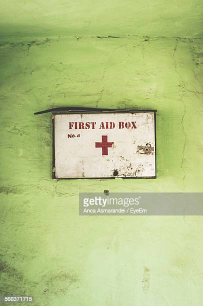 Close-Up Of First Aid Box On Wall